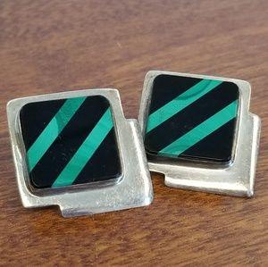 Green and black onyx silver earrings,  pierced